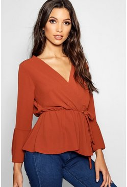 Womens Rust Wrap Front Peplum Hem Blouse