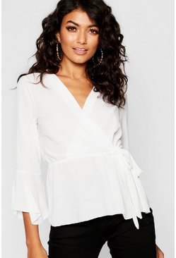 Womens White Wrap Front Peplum Hem Blouse