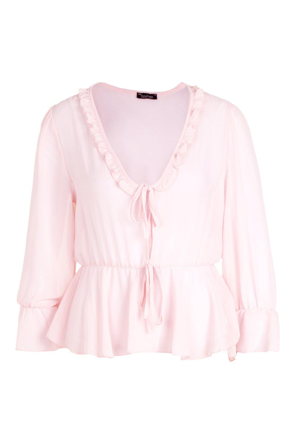 V Neck blush Blouse Peplum Ruffle Hd6gxBg