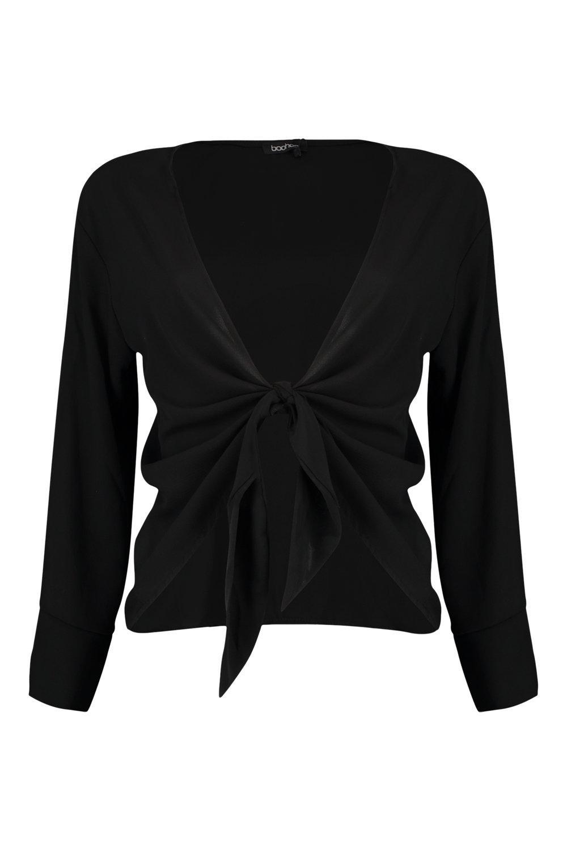 Front Sleeve black Tie Long Blouse BA8nqd