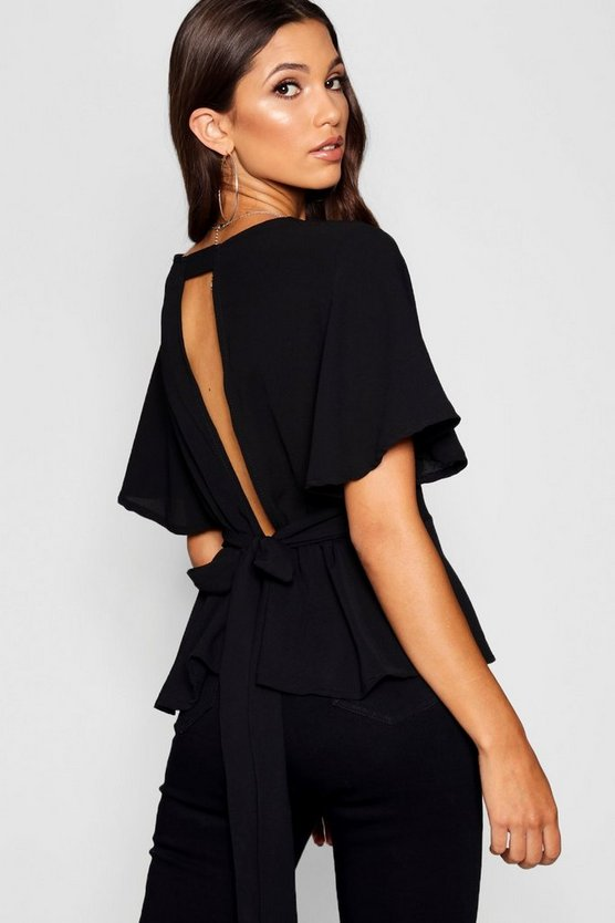 Womens Black Peplum Plunge Open Back Blouse