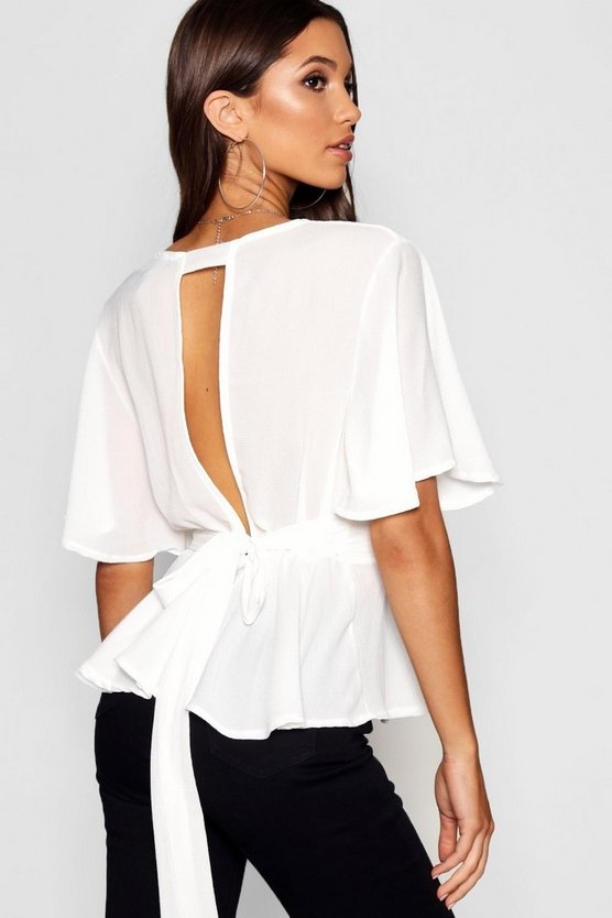 Peplum Plunge Open Back Blouse
