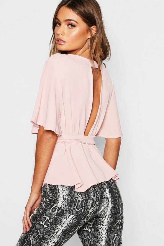 Womens Nude Peplum Plunge Open Back Blouse