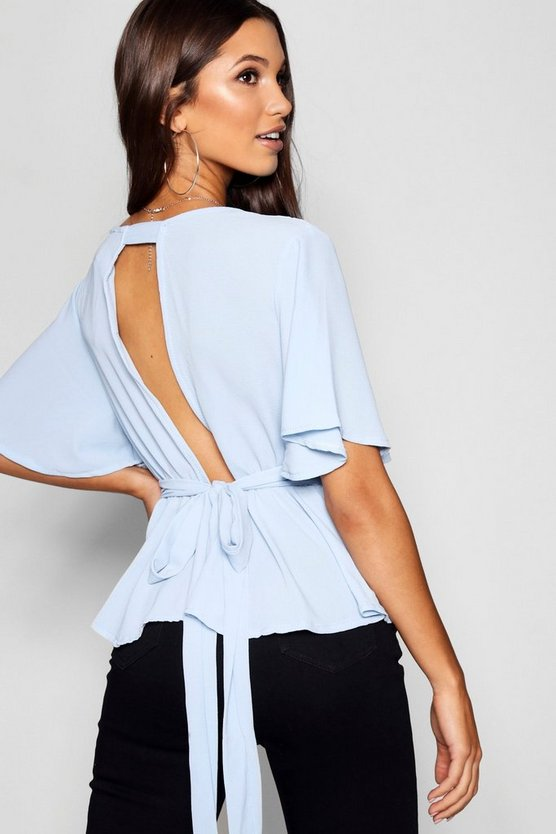 Womens Sky Peplum Plunge Open Back Blouse