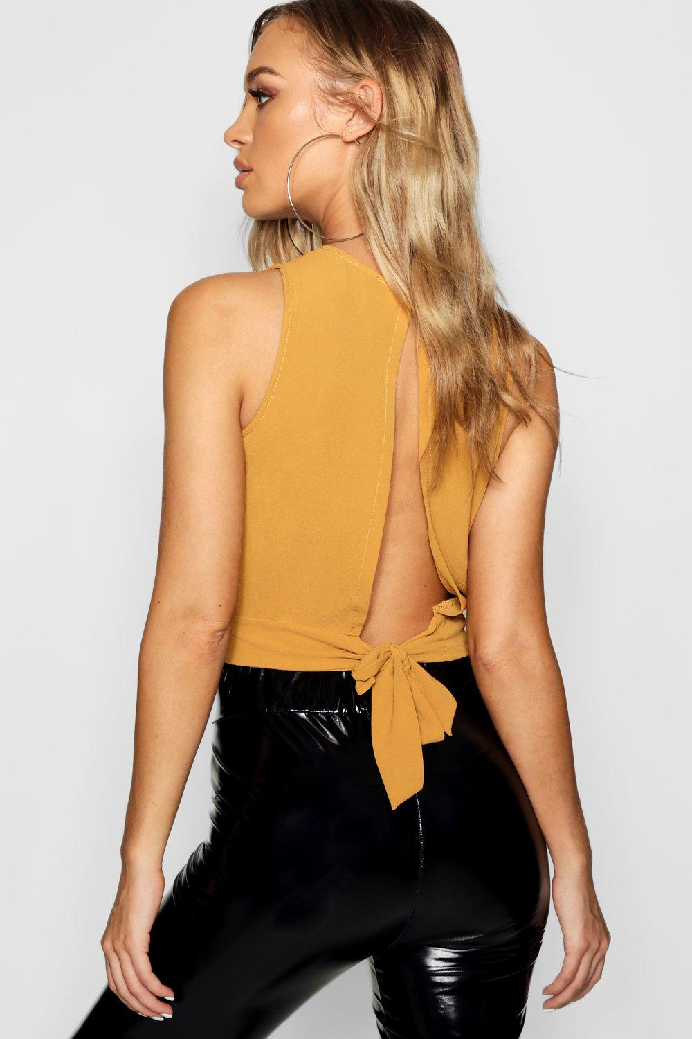 Crop Top mustard Woven Back Tie qwE6g1PZBx