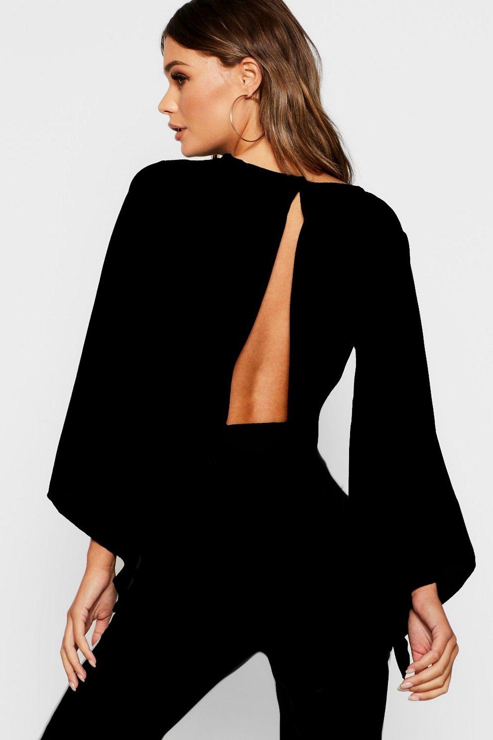 197ea2066e1 Womens Black Flare Sleeve Tie Back Crop Top