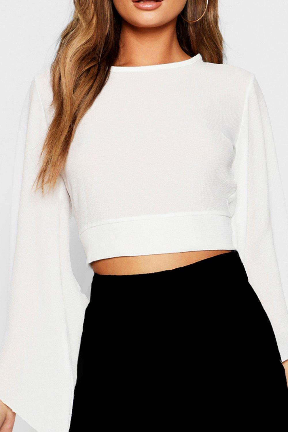black Crop Back Tie Top Sleeve Flare XzZxgg