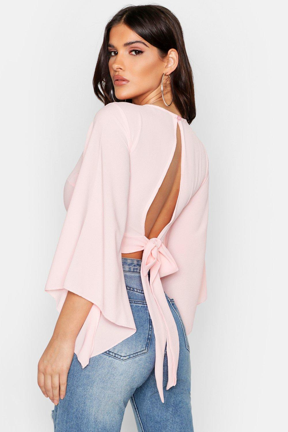 4bfde7031ef Flare Sleeve Tie Back Crop Top. Hover to zoom