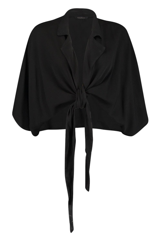 Cotton Shirt Tie Front black Feel qZx8fFwBv