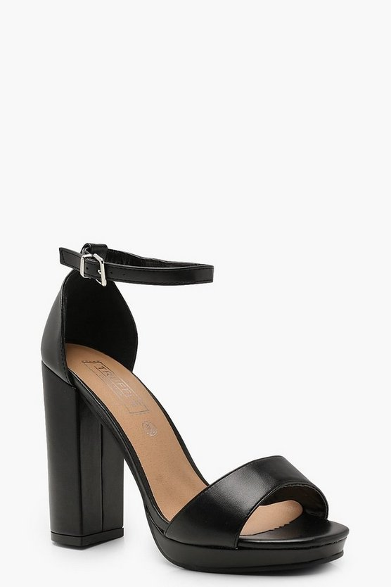 Womens Black Peeptoe 2 Part Platform Heels