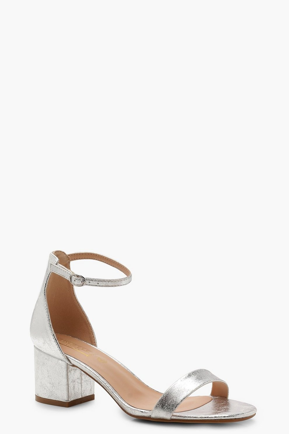 b3be03e00528c Low Block Heel Metallic 2 Part Heels | Boohoo