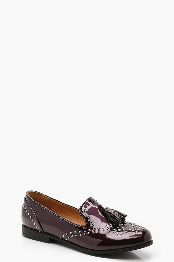 Womens Burgundy Stud and Tassel Loafers