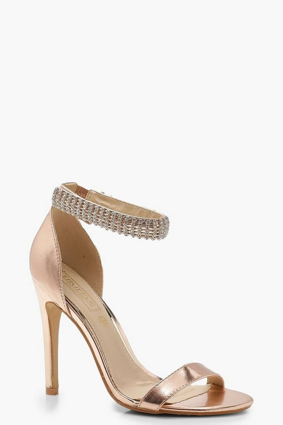 Embellished Ankle Strap 2 Part Heels