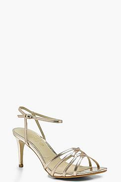 Low Heel Strappy Metallic Sandals
