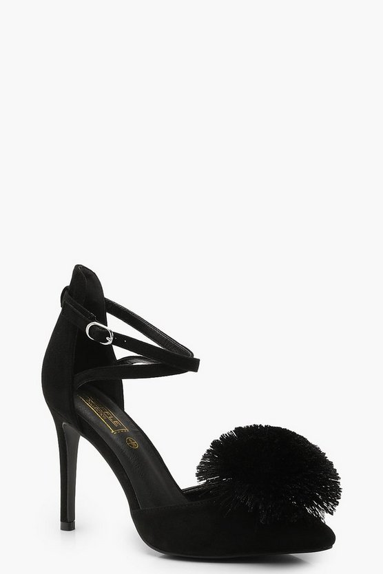 Black Pom Pointed Court Shoes