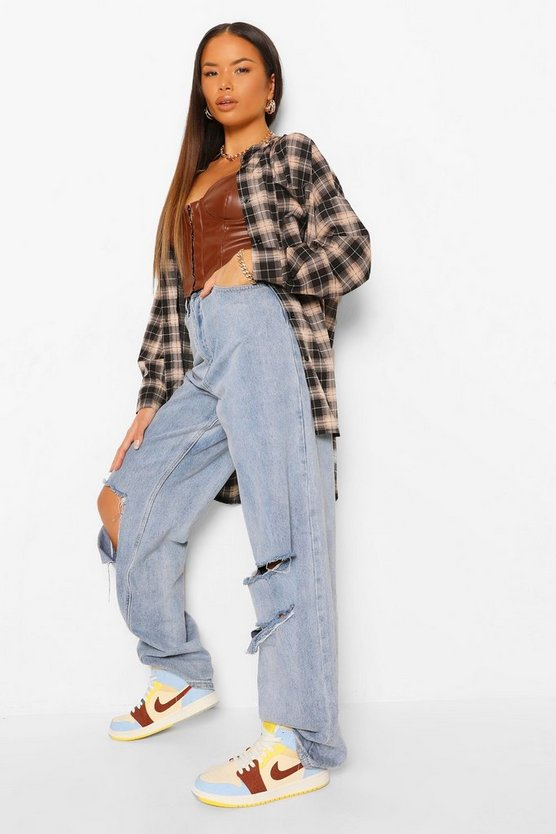 Black Grandad Collar Oversized Check Shirt