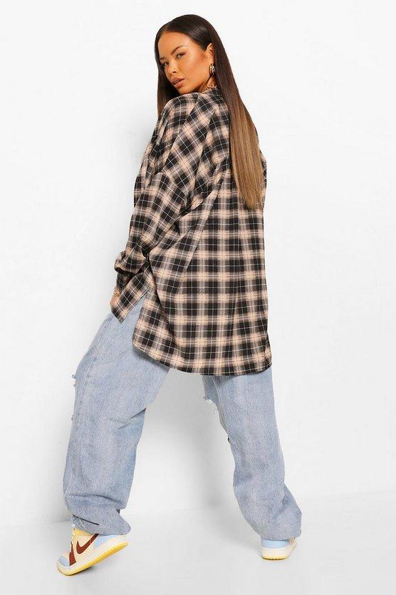 Grandad Collar Oversized Check Shirt