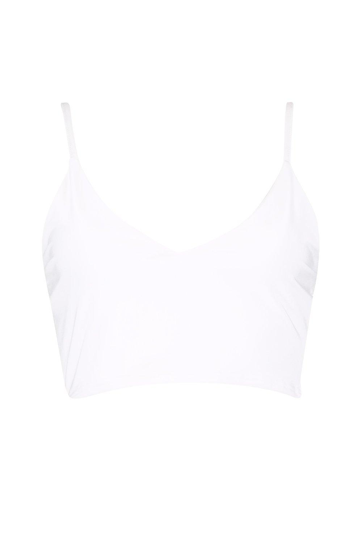 V en cuello estilo Corpiño blanco elegante con disco Aqv65t