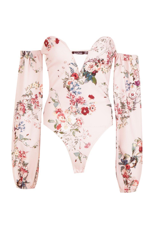 V Body en abombada barra manga con rosa estampado y RnqFrR0Y