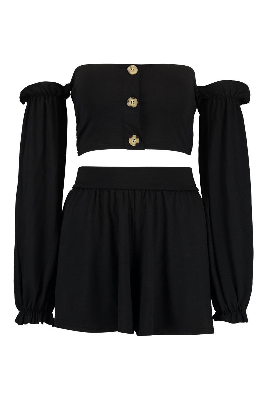 manga cortos voluminosa estilo negro top Bardot de abotonado y pantalones con Conjunto AEqvzHwTU