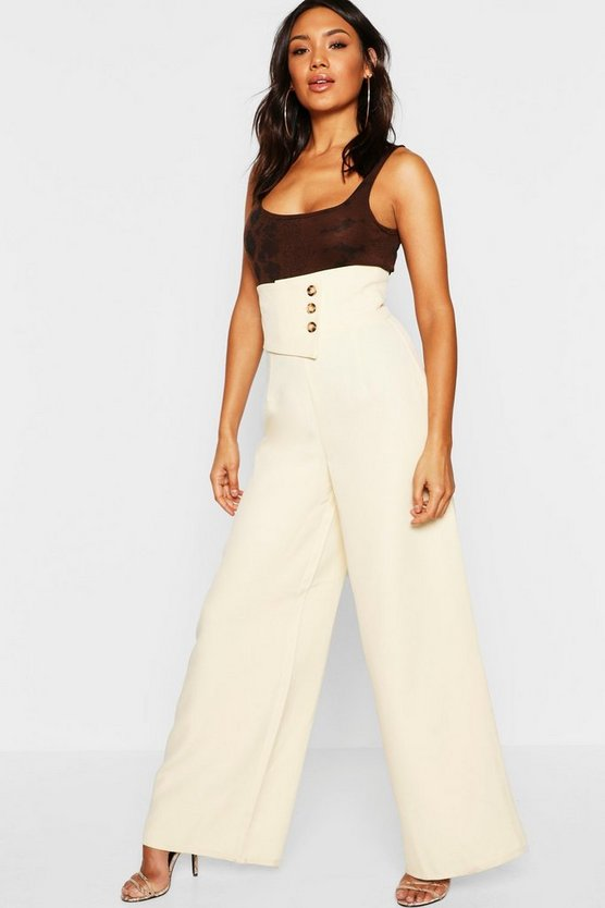 Cut Out Detail Wide Leg Trouser