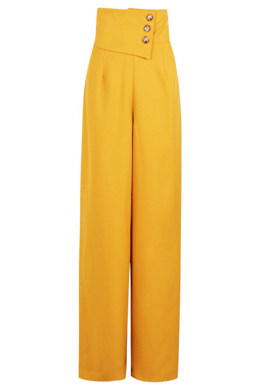 con detalle Pantalones calado mustard acampanados 1Rq0xq5