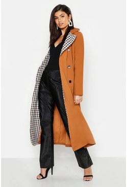 Womens Brown Check Lined Trench Coat