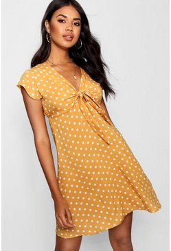 Mustard Woven Polka Dot Tie Detail Skater Dress