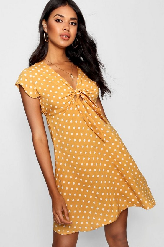 Woven Polka Dot Tie Detail Shift Dress