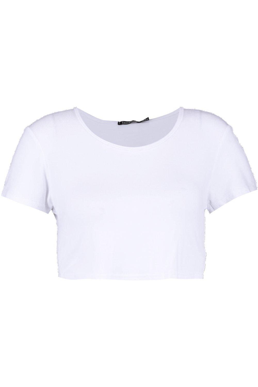 Top Sleeve Basic white Crop Short qfwXWBxtpZ