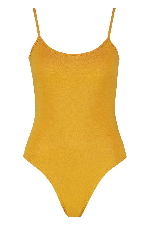 Spaghetti mustard Basic Basic Strap mustard Bodysuit Spaghetti Bodysuit Basic Strap wqUaE