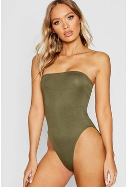 Womens Khaki Basic Bandeau Bodysuit
