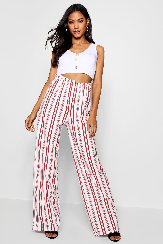 7fbdadafe2ba9 Boohoo Womens Crepe Stripe Paperbag Wide Leg Trouser in Red size 6