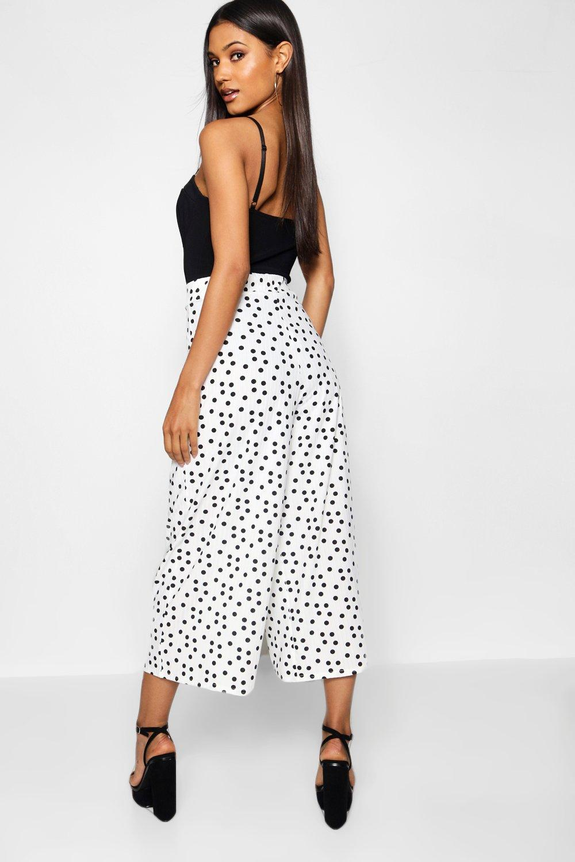 Falda negro pantalón negro de lunares de pantalón Falda lunares SScqrTp