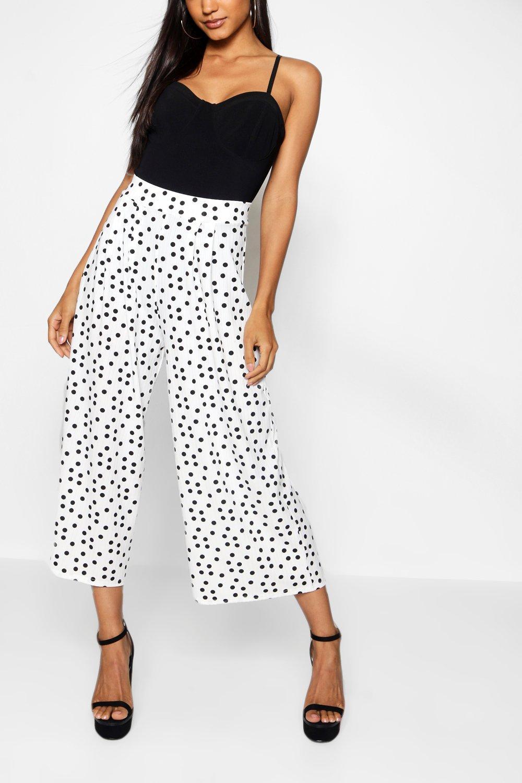 negro de Falda Falda de pantalón lunares negro lunares Falda pantalón qpqzPaw