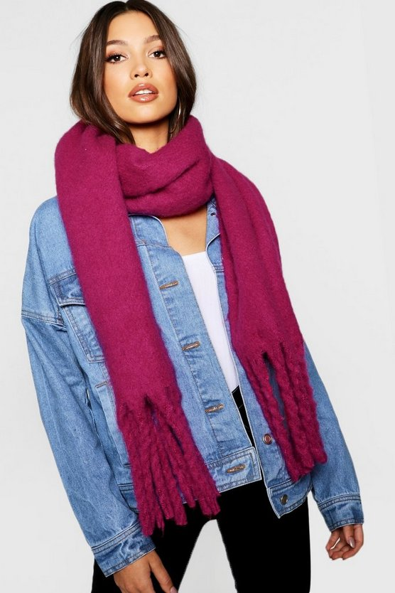 Pink Colour Pop Tassel End Woven Scarf