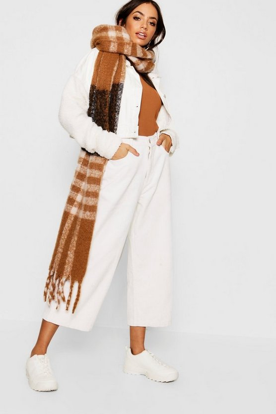 Womens Camel Check Woven Scarf