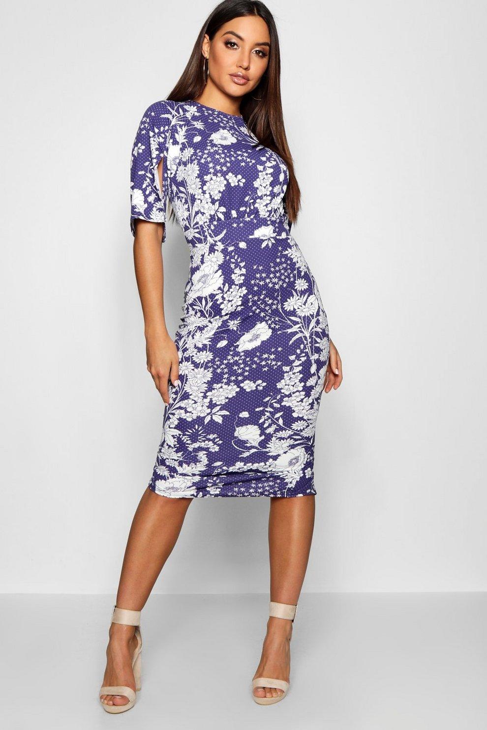5bd8d87b71c3f Womens Navy Spot Floral Split Sleeve Wiggle Midi Dress