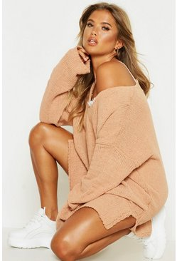 Womens Camel V Neck Chenille Jumper