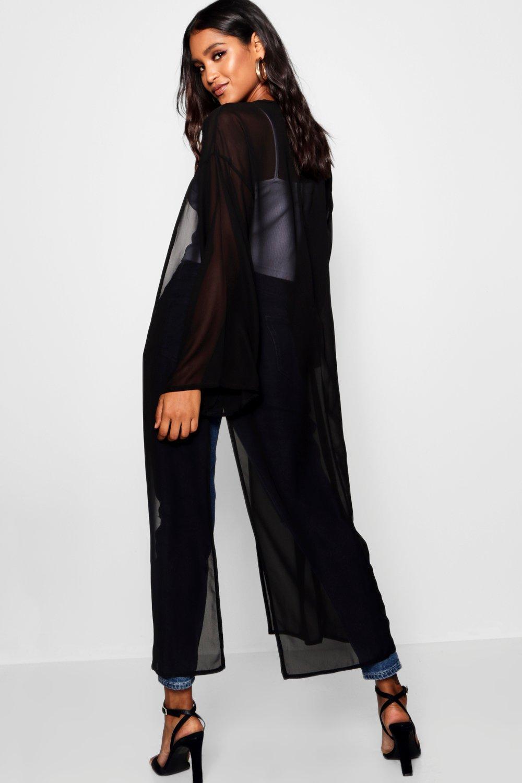 aberturas laterales negro con Kimono maxi XCwqgg