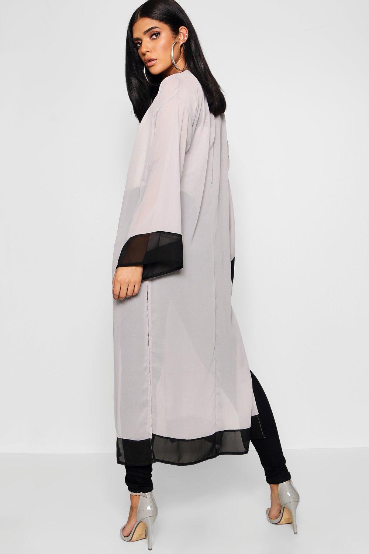 contraste abertura lateral gris maxi pieza en y con Kimono E70wOp