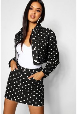 Womens Black Polka Dot Denim Mini Skirt