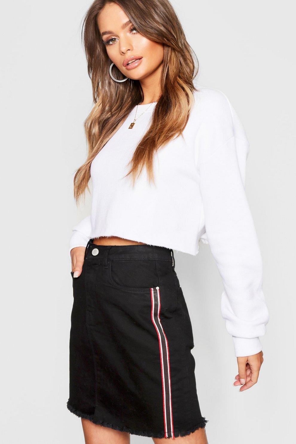2797437362 Denim Mini Skirt With Tape Detail