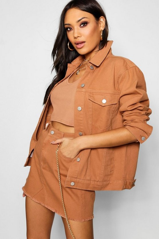 Tan Oversized Denim Jacket