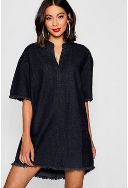 Womens Black Pocket Front Denim Shirt Dress