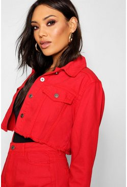 Womens Red Crop Denim Jacket