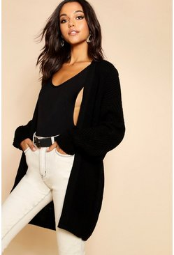 Womens Black Slouchy Oversized Balloon Sleeve Cardigan