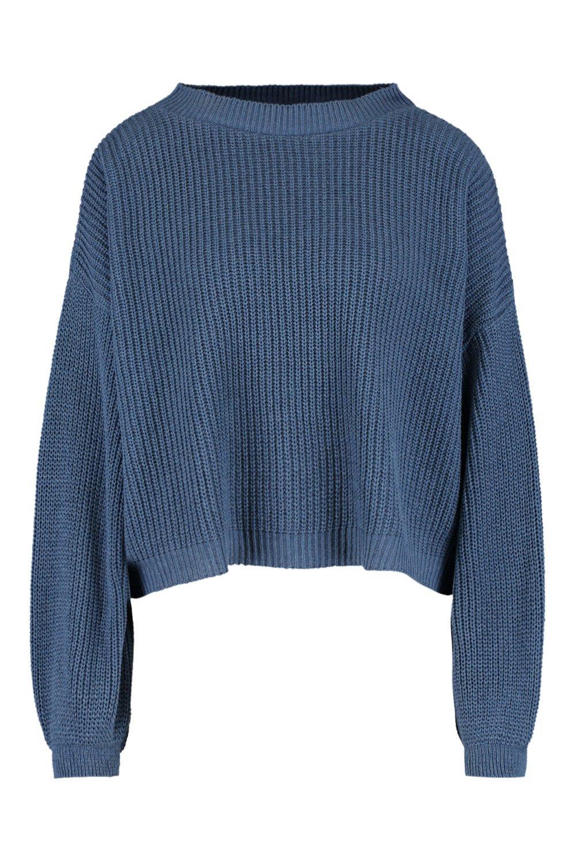 abombadas Jersey Azul mangas con ancho denim xvxfw7a4q