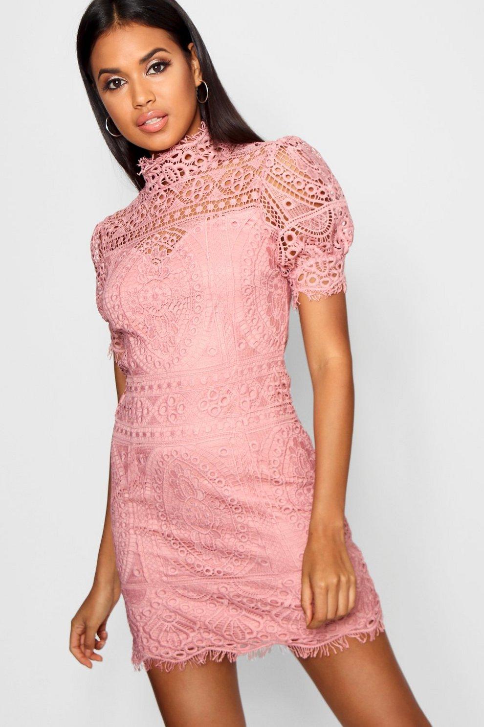 b4928c8d37 Womens Blush Lace Puff Sleeve Bodycon Dress