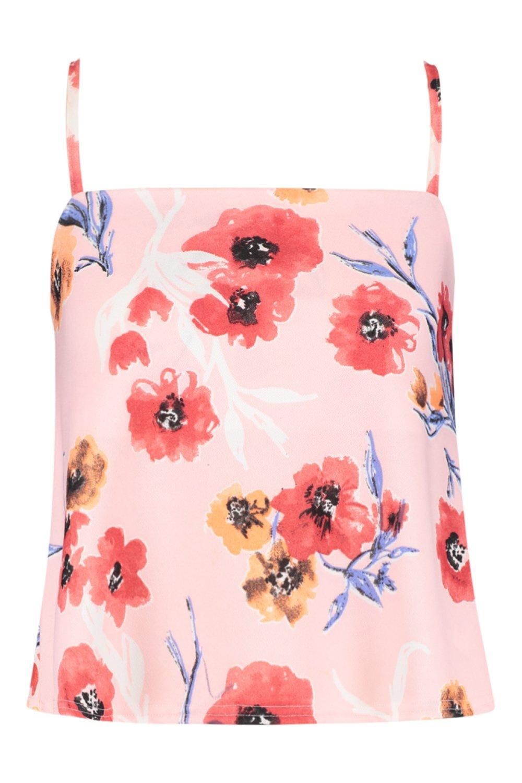 escote de Camisola con floral tirantes estampado con pálido cuadrado rosa PUPqwtvC